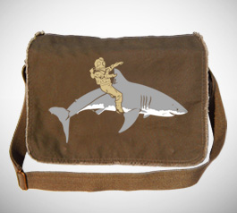 Diver Riding Shark Messenger Bag