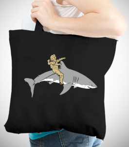 Diver Riding Shark Tote Bag
